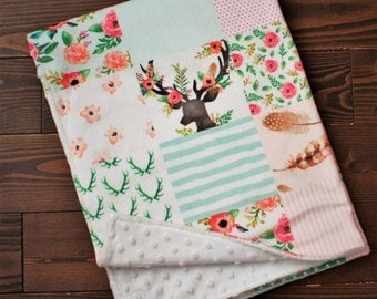 Coral and Mint Deer Quilt Minky Baby Blanket -  Minky Baby - Baby Shower gifts girl - Baby Blankets Girl - New Baby Gift - Boho Nursery