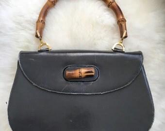 Gucci Style Artbag Leather Bamboo Handle Purse