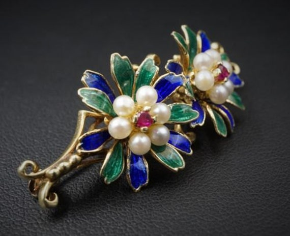 Whimsical Nouveau 14k Yellow Gold Enamel and Pearl Flower Brooch! OG123