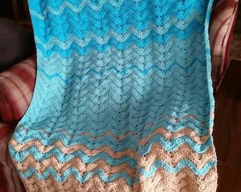 Crochet sea turtle blanket, sea turtle blanket, beach crochet blanket