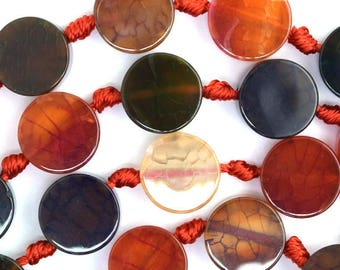 "12mm multicolor agate coin beads 16"" strand 36459"