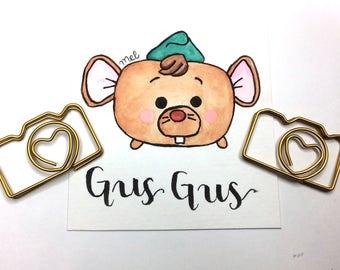 Mini Watercolor, Disney Inspired, Gus Gus from Cinderella, tsum tsum OOAK wall art, 3x3