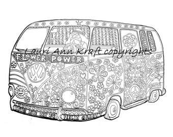 vw voltswagon bus hippie camping printable adult coloring book page instant download zentangle pdf kraft color - Hippie Coloring Book