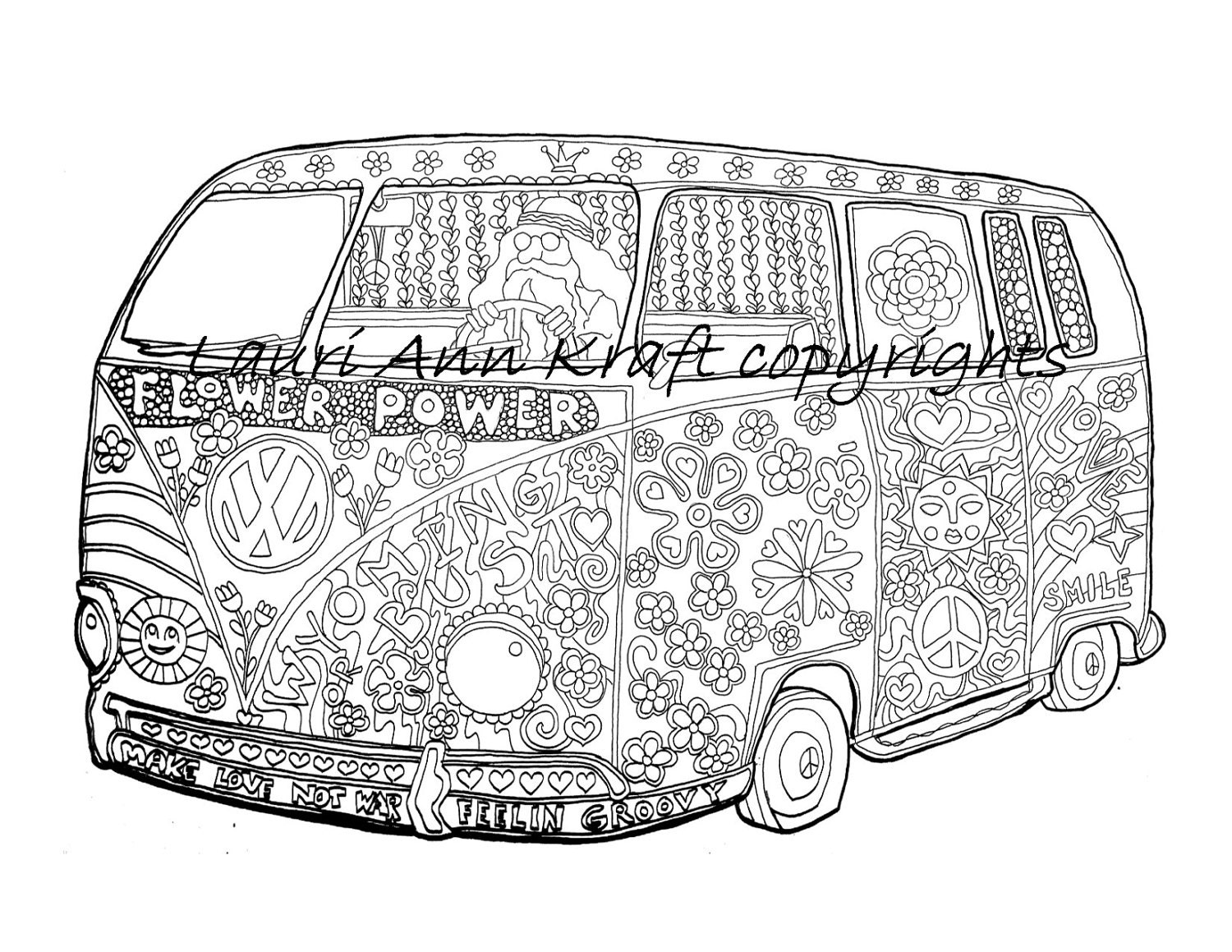 VW Voltswagon Bus Hippie Camping Printable Adult Coloring Book