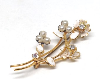 Vintage Jewelry Signed Austria Flower Faux Pearl Gold Tone Vintage Estate Brooch