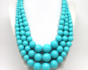 Classic Gorgeous Triple Strand Blue Signed Hong Kong Vintage Estate Necklace