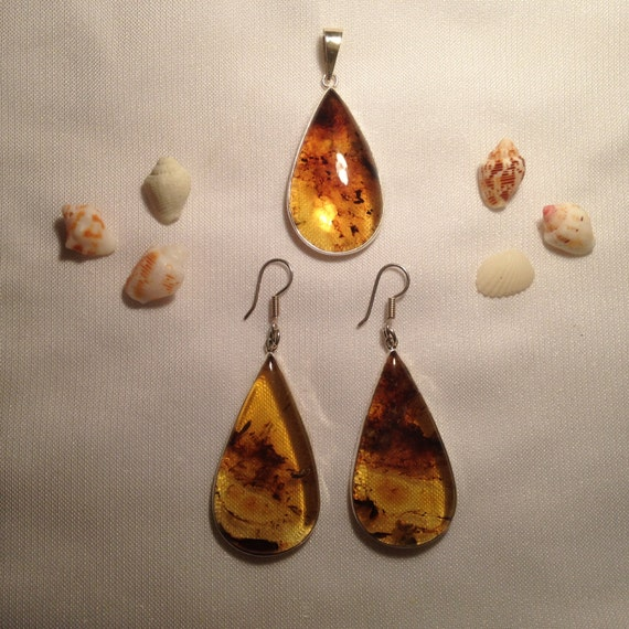 Handmade Mexican amber sterling silver set, large earrings and pendant