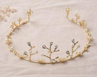 HG350 Women Gold Rhinestone Tiara, Pearl Tiara,  Maiden  Dramatic Birthday Hairband,Party Jewelry,Wedding Tiara