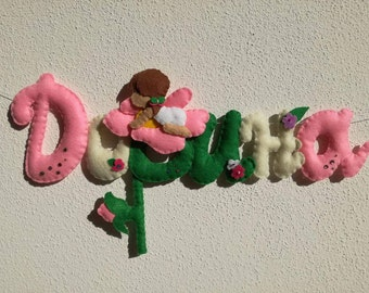 Banner name stitchable felt letters Kids room baby flower