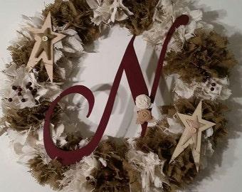 Burlap Shag Wreath