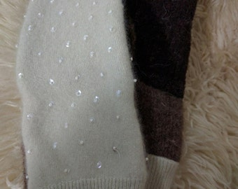 Beaded mittens, homemade, upcycled, wool-felted, sweater mittens, One size fits most.