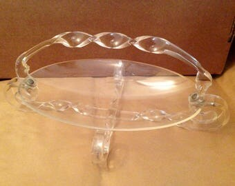 Fruit Bowl, Clear, Lucite, Early Plastic, 1950s, Perspex, Kitchen, Home, Retro, Vintage