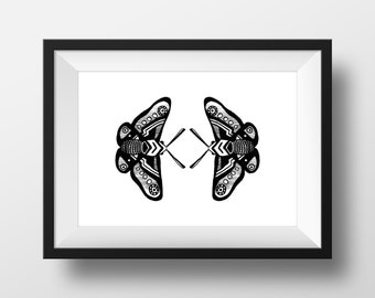Butterfly Poster Print - Black and White Illustration