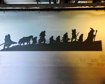 Lord of the Rings Fellowship Silhouette- 40 in | Metal Wall Art | Metal Sign | Home Decor | Hobbit | JRR Tolkien | The Fellowship | Rustic