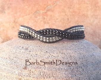 "ON SALE!  Black Silver Beaded Bracelet, Black Leather Wrap, Magnet Clasp, Dressy Bracelet, For Her, Size 7 3/4"", Le Rendezvous, Black Silver"