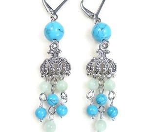 Turquoise earrings dangle drop earrings silver Mint blue earrings handmade jewelry for women gift ideas Womens Prom jewelry set for bride