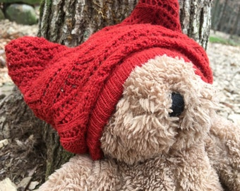 Upcycled Baby Hat, Bear Ear Baby Hat, Vintage Knit Recycled Baby Hat