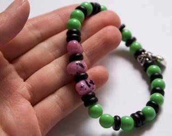 Beaded bracelet / Glass bead bracelet / Green bracelet / black bracelet / Purple bracelet / Heart charm bracelet / Dragon eggs bracelet /