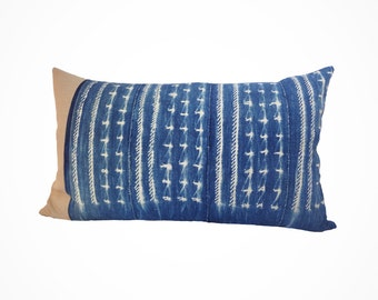 Gorgeous Large Lumbar Pillow with Down Insert made with Vintage Indigo from West Africa 16x26 - Gladys