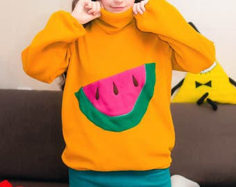 Mabel's  Mustard Yellow Sweater with Watermelon