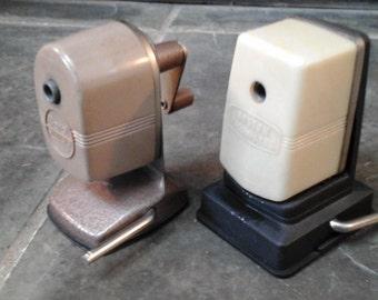 Vintage Crank Pencil Sharpeners Boston Vacuumette and Berol Vintage Office Desk Accessory Manual