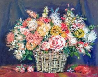 Composition/Chromatism-0.4-opera garden flowers on canvas 50 x 70 cm.