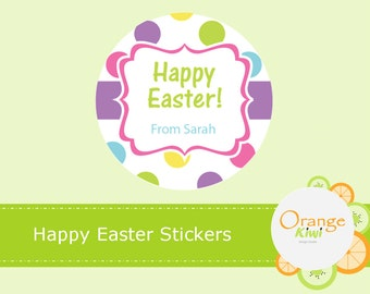 Custom Happy Easter Stickers, Easter Party Favor Tags, Personalized Easter Basket Stickers, Easter Hershey Kiss Stickers