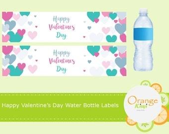 Valentine Water Bottle Labels, Valentine Bottle Wraps, Waterproof Labels, Happy Valentine's Day, Valentine Party Favors