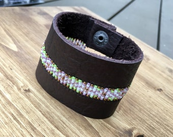 Leather Seed Bead Cuff Bracelet