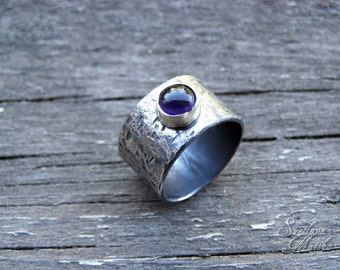 Amethyst wide band, Amethyst ring, Silver wide band, Silver rustic ring, Statement band, Statement ring, Boho ring, Hammered ring