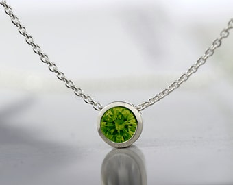 Peridot Pendant Necklace-925 Sterling Silver Peridot Necklace-August Birthstone Necklace-Peridot Silver Necklace-Made to Order
