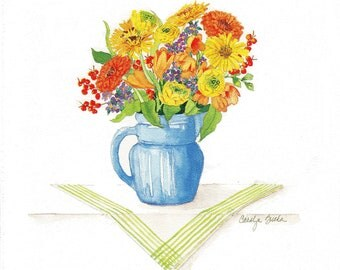Mixed Bouquet in a Blue Pitcher