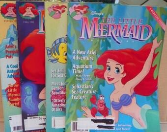 1992 Disney's The Little Mermaid Magazine Premiere Issue , Little Mermaid Magazine First 4 Issues , Ariel Children's  Kid's Book Magazine