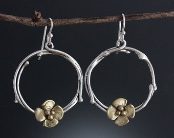 Sterling Silver Vine Hoop Earrings with Brass Dogwood Flower - Mixed Metal Earring - Delicate Hoops - Silver and Brass - Sherry Tinsman