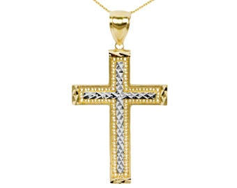 10k Large Yellow and White  Gold Cross Necklace