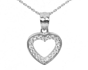 14k White Gold Cubic Zirconia Heart Necklace