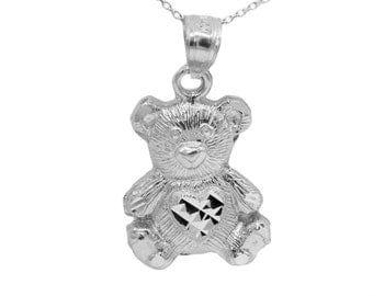 10k White Gold Teddy Bear Necklace