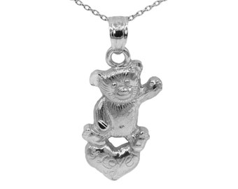 925 Sterling Silver Teddy Bear Necklace