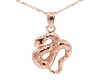 10k Rose Gold Snake Necklace