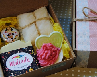 Personalized gifts with natural products. Natural cosmetics. Natural soaps. Bath salts. Lip balm. Original gift.