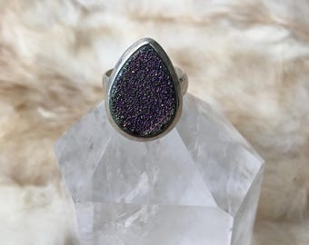 Real silver ring big stone geode vintage handmade women's amazing ring, multi-color with gleam stone geode ring size-universal.