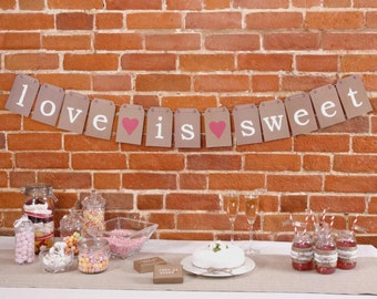 love is sweet bunting banner wedding home decor rustic shabby chic