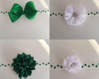 St Patrick's day Headband - Baby Headband - Flower Headband - bow headband - infant Headband