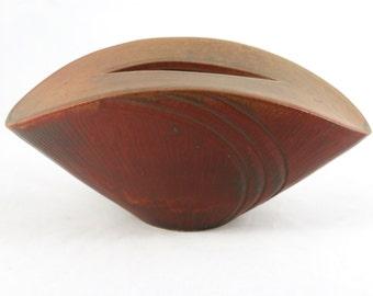 Handmade Ceramic Vase, Oval Pottery Bowl Vase, Unique Carved Vase, Red
