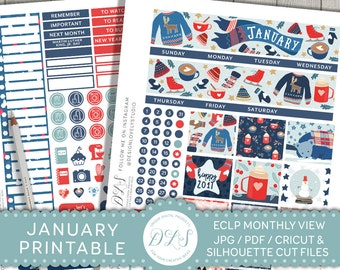 January Monthly Kit, January Planner Stickers, Printable Planner Stickers, January Stickers for Erin Condren, New Year Planner,  MV116
