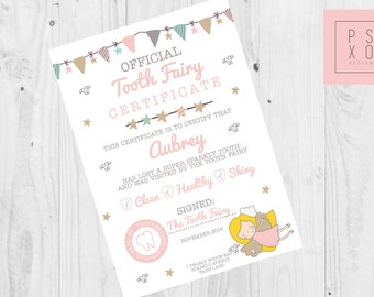 Personalised Tooth Fairy Certificate - Personalised Tooth Fairy Letter - Tooth Fairy Letter - Personalised Certificate