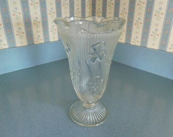 "Vintage Ice Cream Sundae Vase with Flower Design 9"" Tall"
