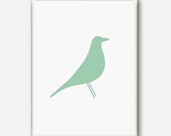 Bird print, Mint Wall art, mint baby room, Minimalist nursery, Eames bird, Mint nursery decor, Bird Poster, Modern Art, Baby shower gift