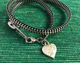 Double Wrap Around Zipper Bracelet with Paw Charm