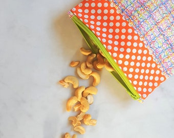 "Reusable Snack Bag - Make-up Bag - Toiletries Bag - Eco Friendly Lunch Bag - Reusable Sandwich Bag - Fabric Zipper Bag - 7"" x 6 1/2"""
